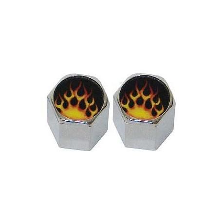 Orange Flame Lug Nut Valve Caps